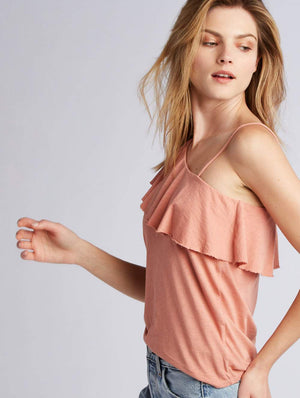 Tie Strap Ruffle Tank  by Lanston at Petit Vour