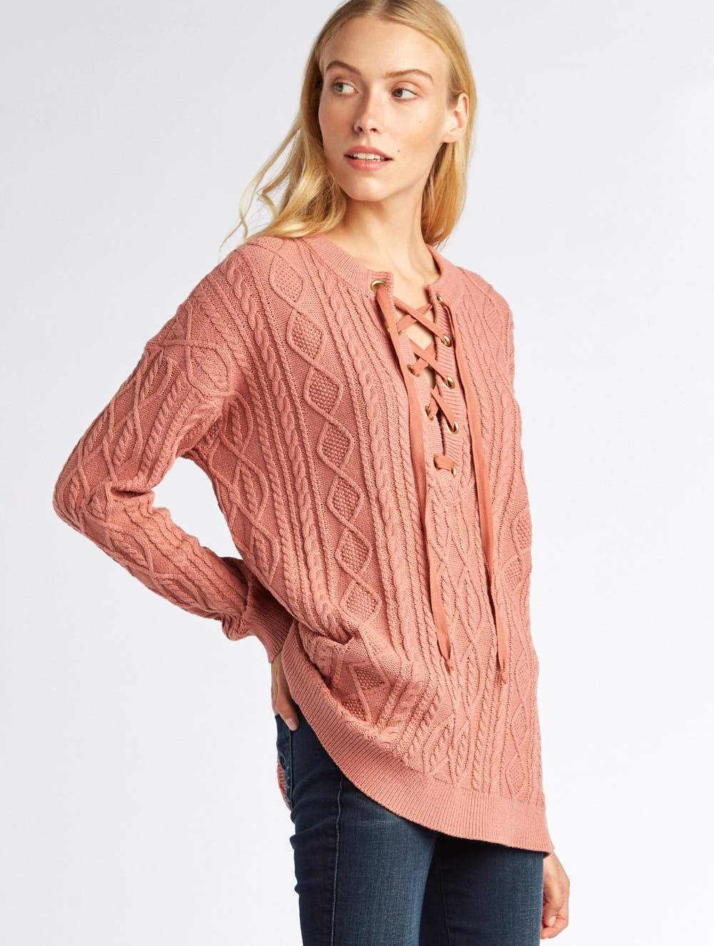 Show Me Your Mumu Lance Lace Up Sweater Mauve Cable Knit