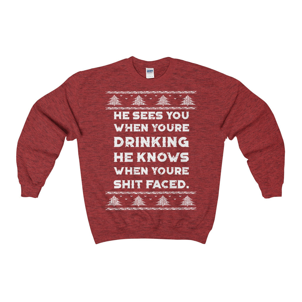 Ugly Christmas Sweater He Sees You When Your Drinking Adult