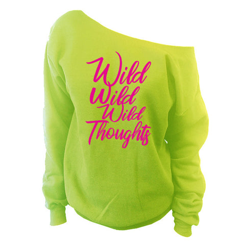 Wild Wild Wild Thoughts Off-The-Shoulder Oversized Slouchy Sweatshirt