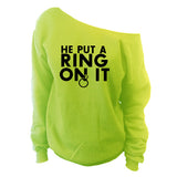 He Put A Ring On It Off-The-Shoulder Wide Neck Slouchy Sweatshirt