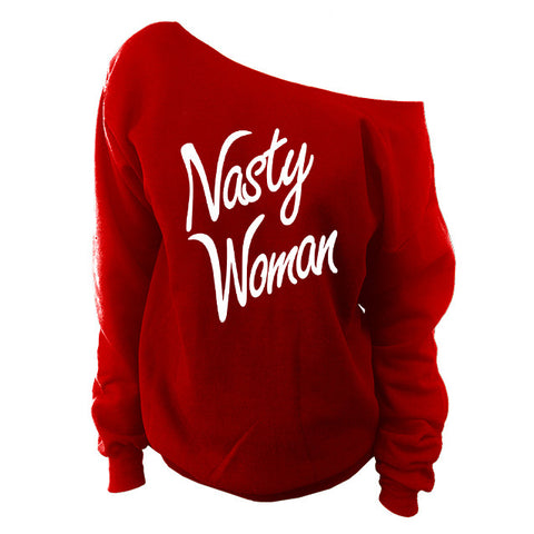 Nasty Women Vote Off Shoulder Oversized Slouchy Sweatshirt