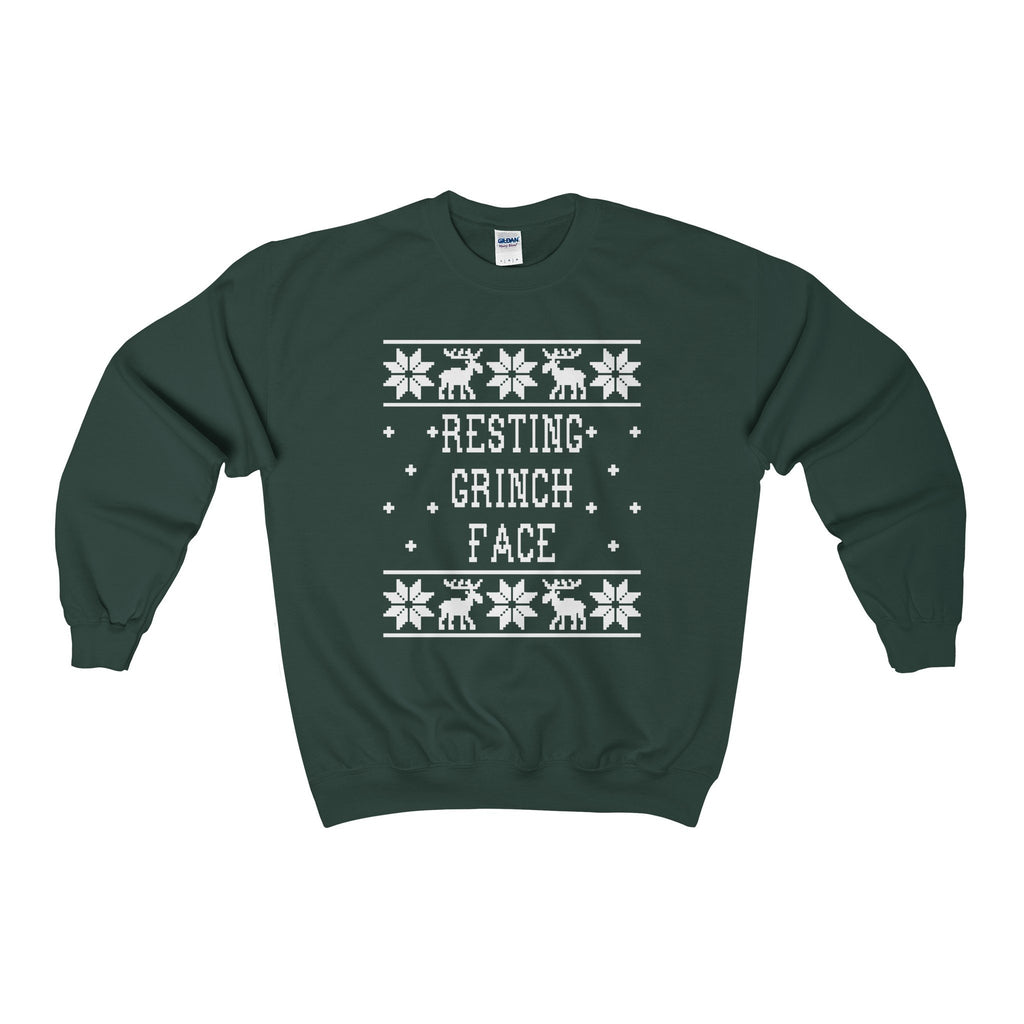 ugly christmas sweater resting grinch face sweatshirt - Grinch Ugly Christmas Sweater