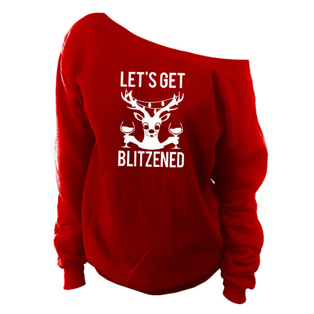51194c99528 Let s Get Blitzened Ugly Christmas Off-The-Shoulder Oversized Slouchy  Sweatshirt