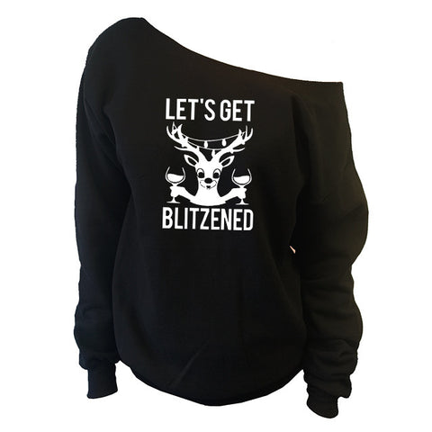Let's Get Blitzened Ugly Christmas Off-The-Shoulder Oversized Slouchy Sweatshirt