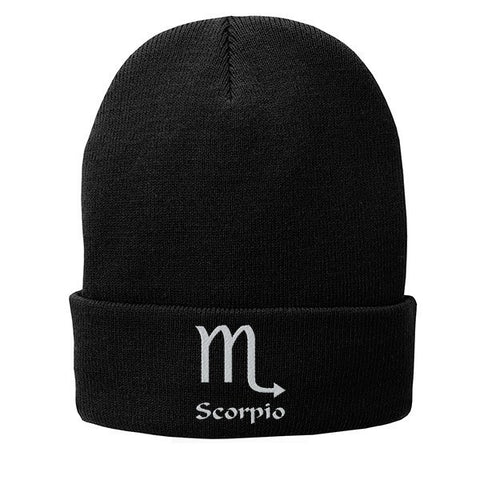 Scorpio Zodiac Sign Embroidered Beanie Fleece-Lined Knit Cap - SenseOfCustom - 1