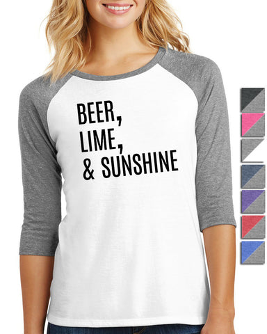 Beer, Lime and Sunshine Ladies 3/4-Sleeve Raglan - SenseOfCustom