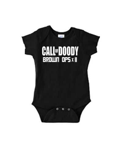 Call of Doody Brown Ops x2 One Piece Bodysuit with Lap Shoulder and Snap On Buttons - SenseOfCustom