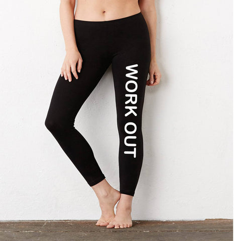 Work Out Ladies' Cotton/Spandex Leggings - SenseOfCustom - 1