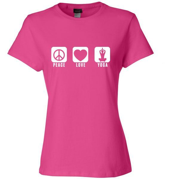 Peace Love and Yoga Womens T Shirt - SenseOfCustom - 1