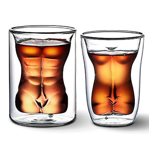 Sexy Lady Men Durable Double Wall Shot Glasses