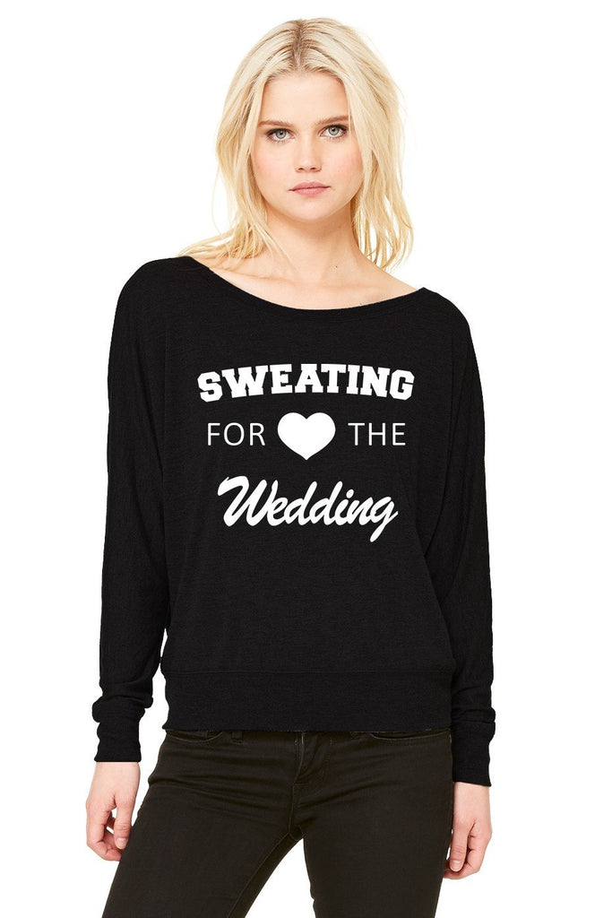 Sweating For The Wedding Ladies' Flowy Long-Sleeve Off Shoulder T-Shirt - SenseOfCustom - 5
