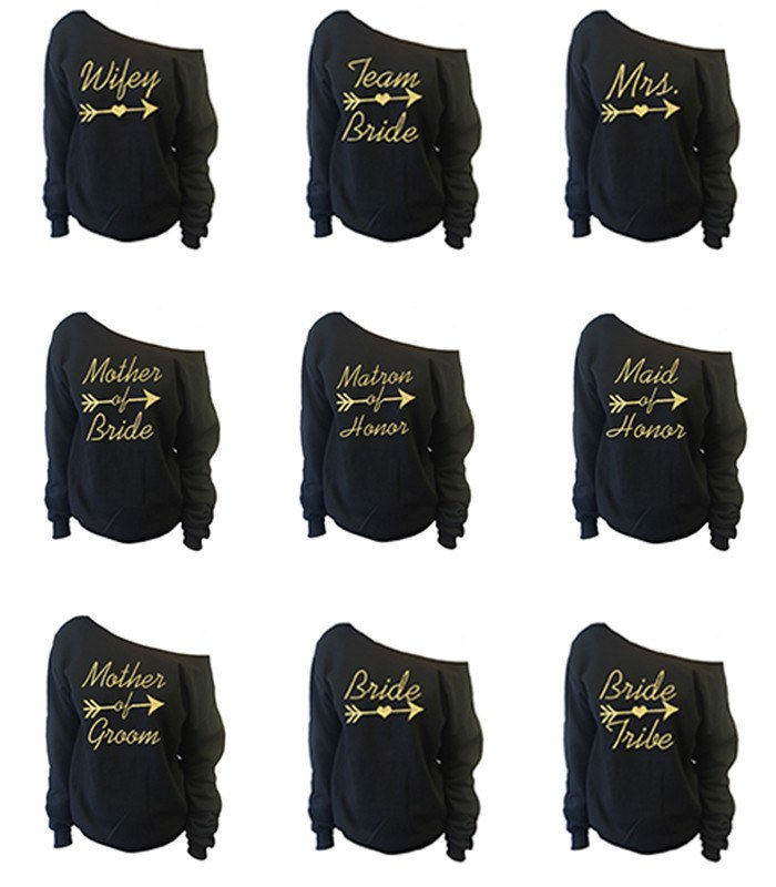 b44e0f420 Bridal Party Off-The-Shoulder Wide Neck Slouchy Sweatshirt ...