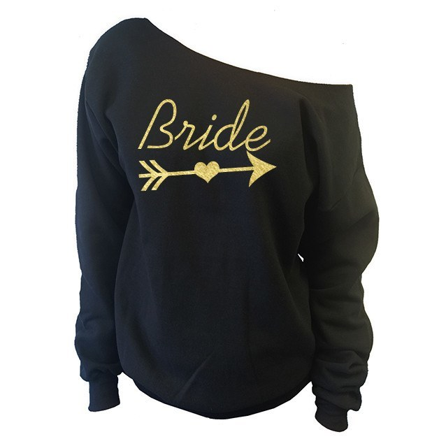 Bridal Party Off-The-Shoulder Wide Neck Slouchy Sweatshirt - SenseOfCustom