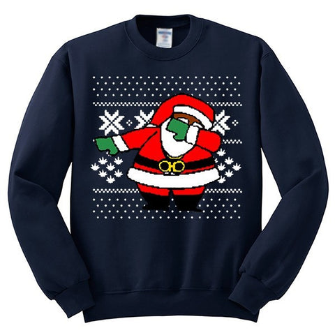 Dabbing Santa Claus Ugly Christmas Sweater | Youth Crewneck Sweatshirt - SenseOfCustom