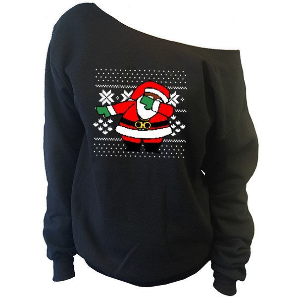 dabbing santa claus ugly christmas sweater off the shoulder oversized slouchy sweatshirt
