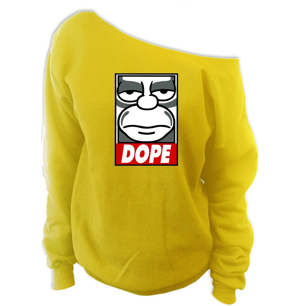 DOPE Homer Simpson Off-The-Shoulder Sweatshirt - SenseOfCustom - 1