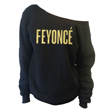 FEYONCE' Off-The-Shoulder Wide Neck Slouchy Sweatshirt | Gold Print - SenseOfCustom