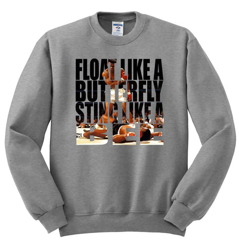 Float Like A Butterfly, Sting Like A Bee Muhammad Ali Crewneck Sweatshirt - SenseOfCustom - 1
