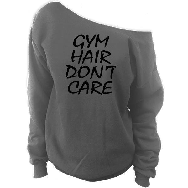 Gym Hair Don't Care Off-The-Shoulder Oversized Slouchy Sweatshirt - SenseOfCustom - 2