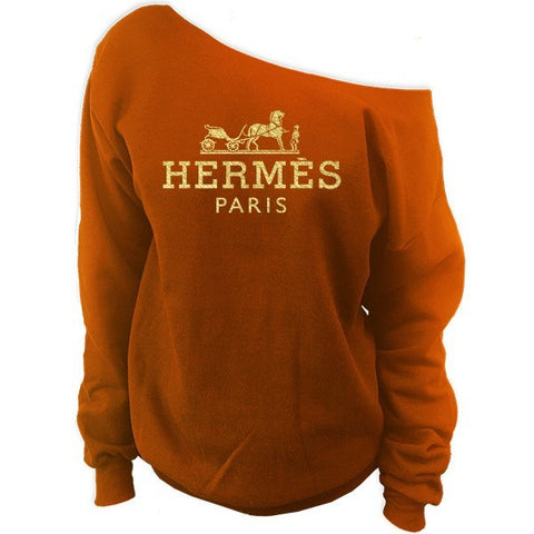 Hermes Paris Off-The-Shoulder Oversized Slouchy Sweatshirt - SenseOfCustom - 1