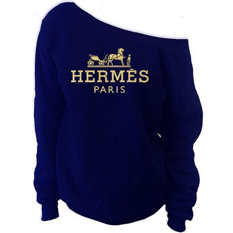 Hermes Paris Off-The-Shoulder Oversized Slouchy Sweatshirt - SenseOfCustom - 9
