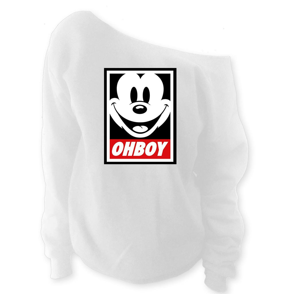 Mickey Mouse Ohboy Off-Shoulder Wide Neck Slouchy Sweatshirt - SenseOfCustom - 1