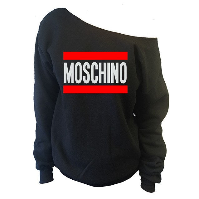 Sweatshirts - Moschino Off-The-Shoulder Wide Neck Slouchy Oversized Sweatshirt