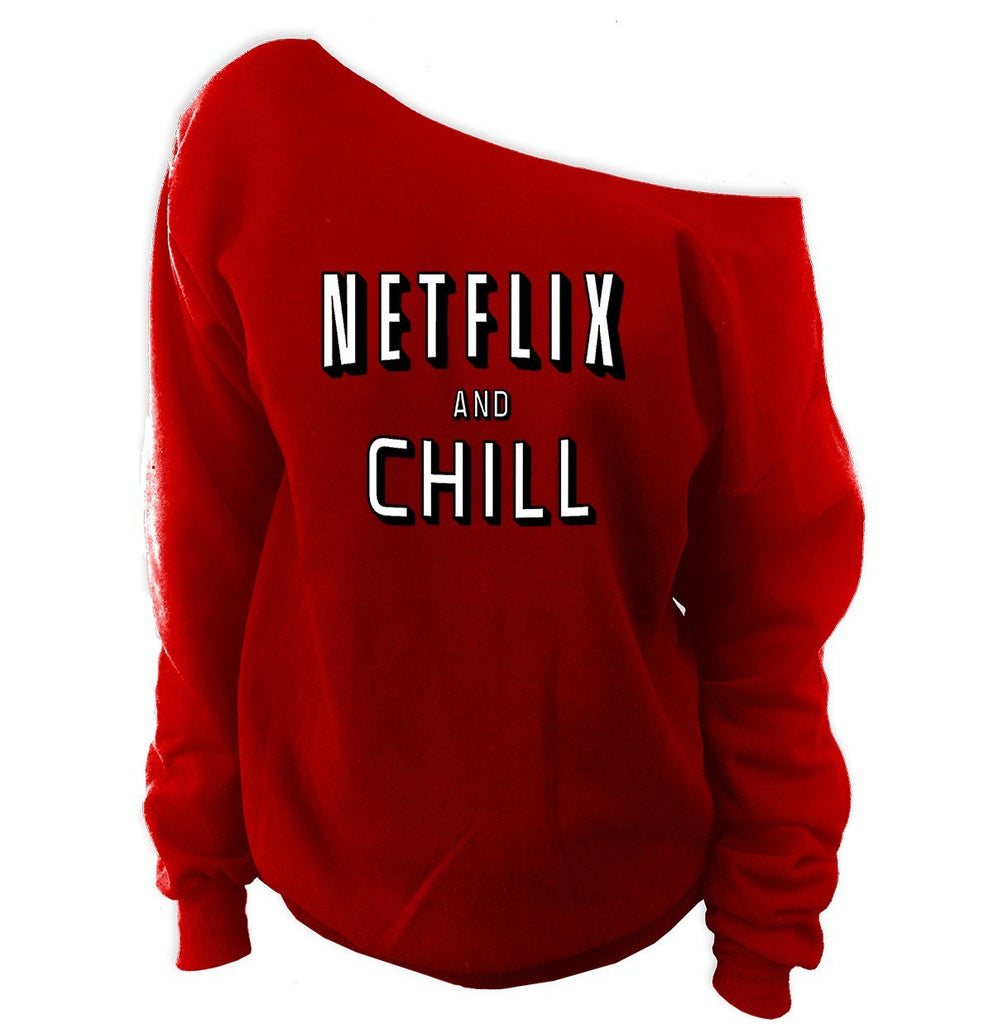 Netflix and Chill Off-Shoulder Oversized Sweatshirt - SenseOfCustom - 1