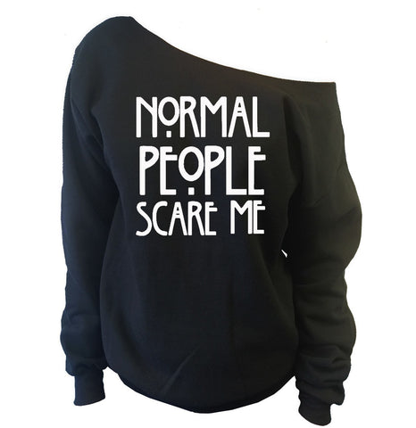 Normal People Scare Me Off-The-Shoulder Oversized Slouchy Sweatshirt - SenseOfCustom - 1