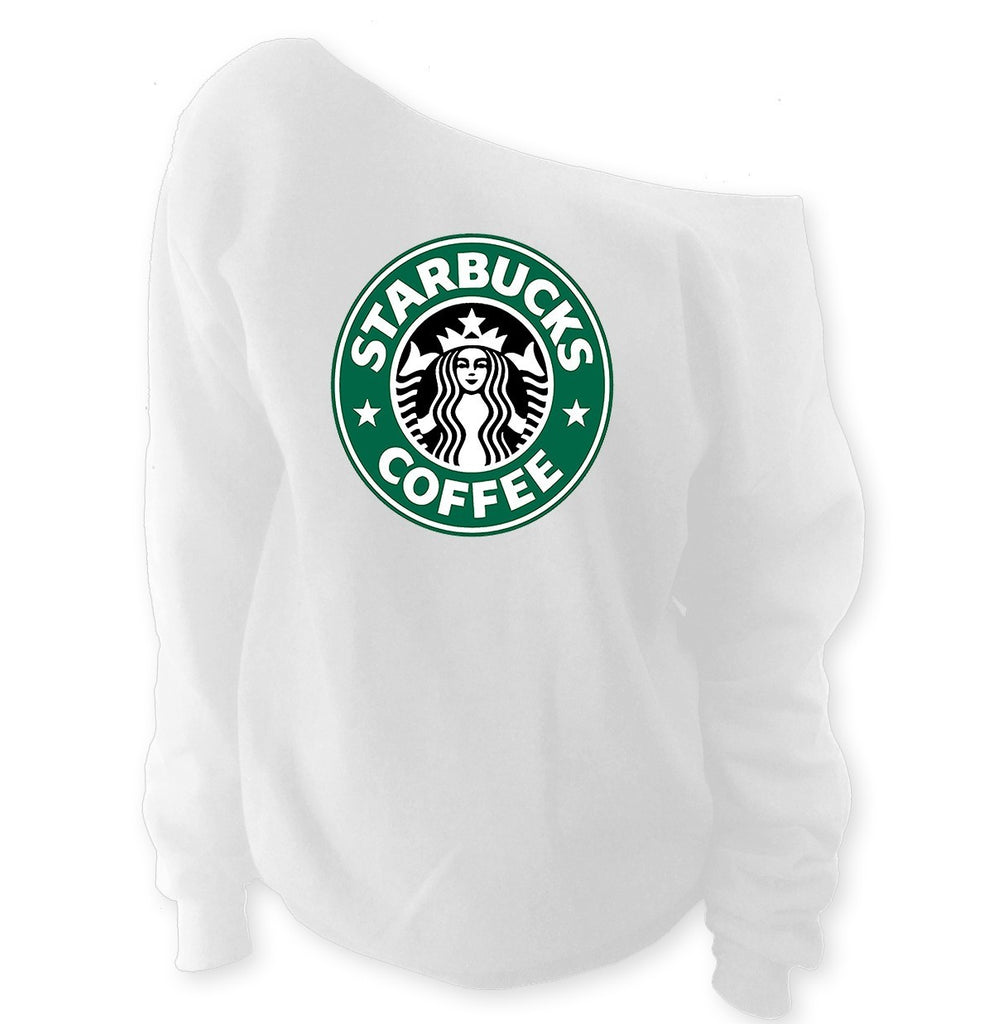 Starbucks Off-The-Shoulder Wideneck Slouchy Sweatshirt - SenseOfCustom - 1