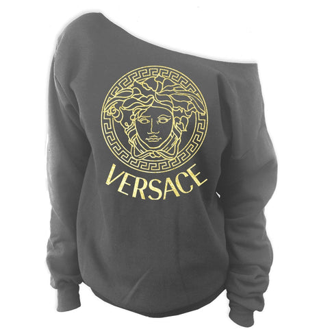 Versace Medusa Off-The-Shoulder Oversized Wideneck Slouchy Sweatshirt - SenseOfCustom - 11