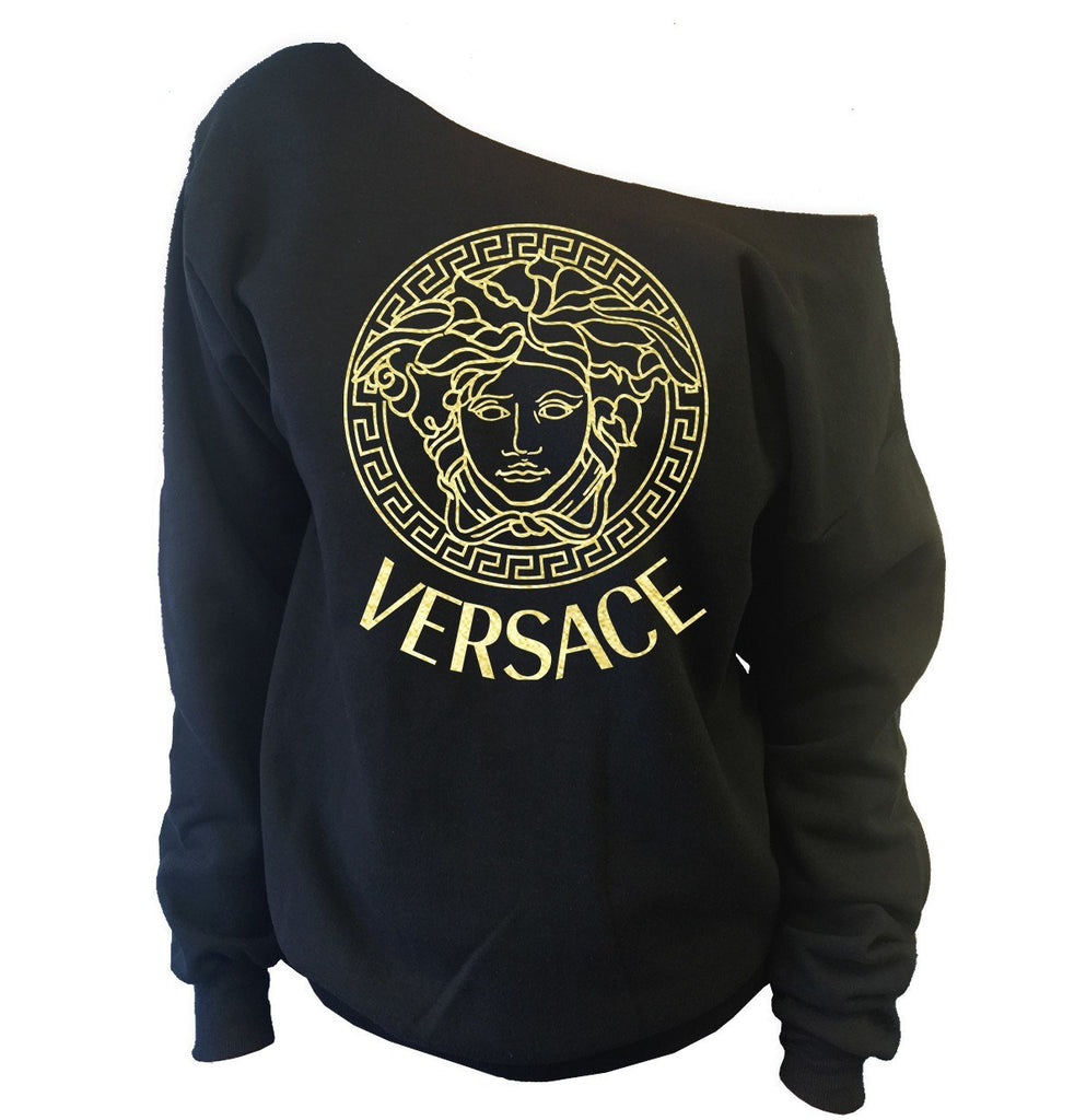 Versace Medusa Off-The-Shoulder Oversized Wideneck Slouchy Sweatshirt - SenseOfCustom - 1