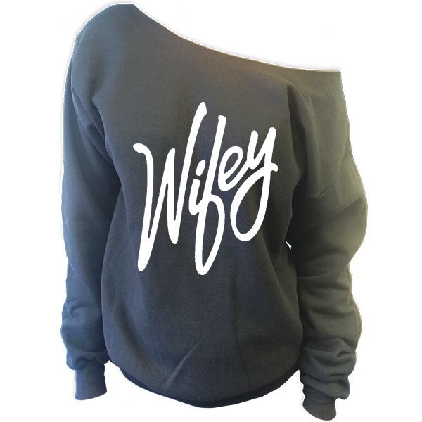 Wifey Off The Shoulder Slouchy Sweatshirt - SenseOfCustom - 1
