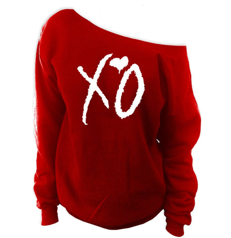 XO Off-The-Shoulder Wideneck Slouchy Sweatshirt - SenseOfCustom - 10