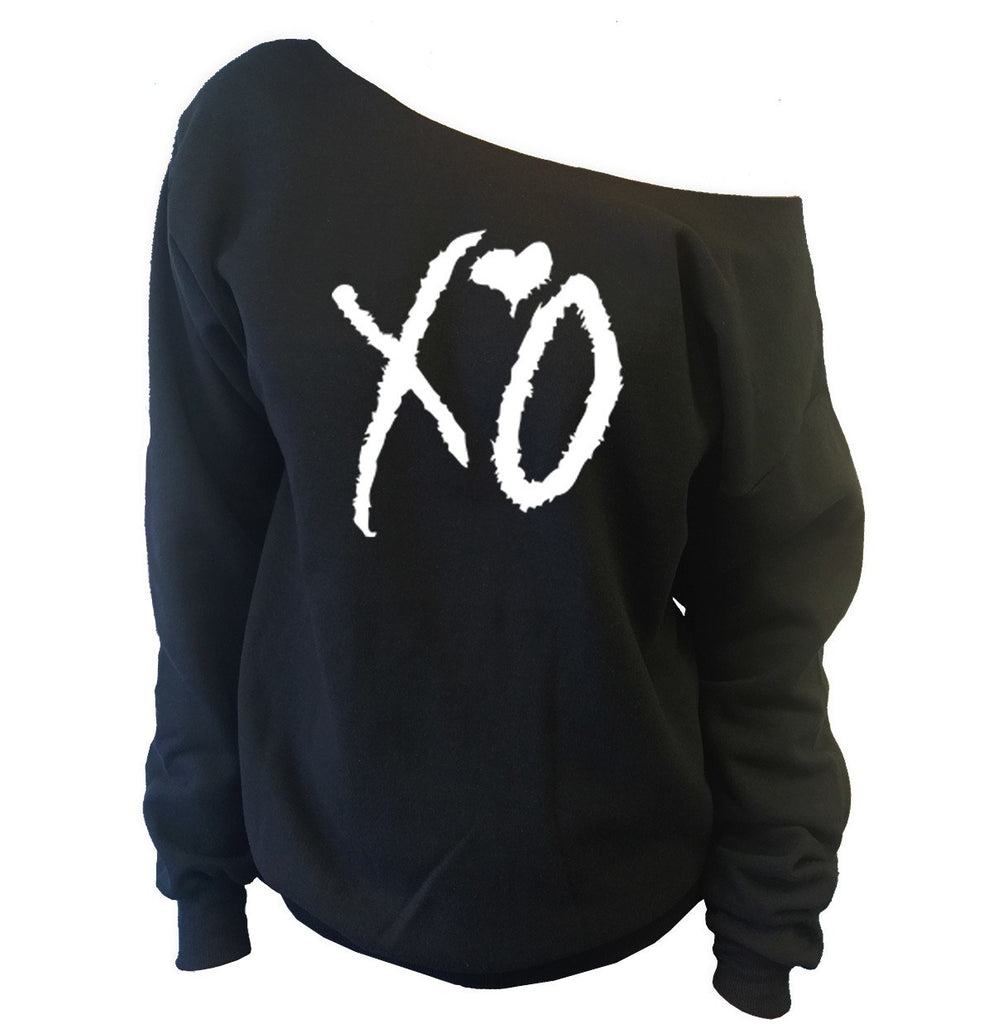 XO Off-The-Shoulder Wideneck Slouchy Sweatshirt - SenseOfCustom - 1