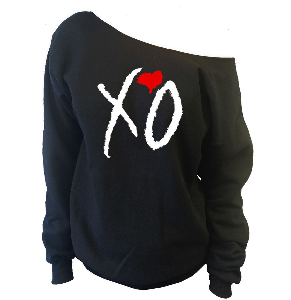 XO with Red Heart Off-The-Shoulder Wideneck Slouchy Sweatshirt - SenseOfCustom - 1