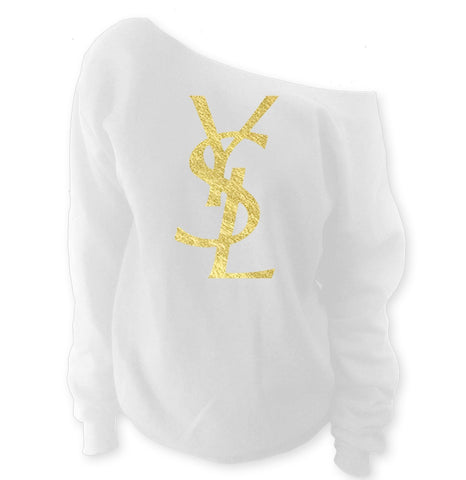 YSL Yves Saint Laurent Inspired Off-The-Shoulder Oversized Slouchy Sweatshirt - SenseOfCustom - 3