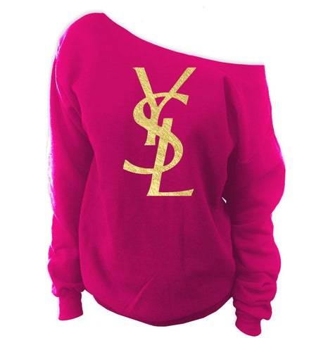 YSL Yves Saint Laurent Inspired Off-The-Shoulder Oversized Slouchy Sweatshirt - SenseOfCustom - 5