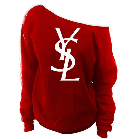 YSL Yves Saint Laurent Inspired Off-The-Shoulder Oversized Slouchy Sweatshirt - SenseOfCustom - 9