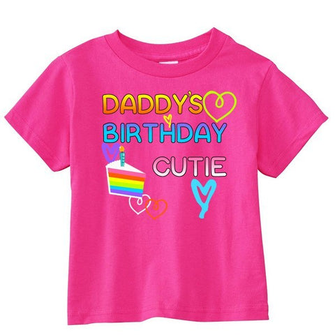 Daddy's Birthday Cutie Toddler Short-Sleeve T-Shirt - SenseOfCustom