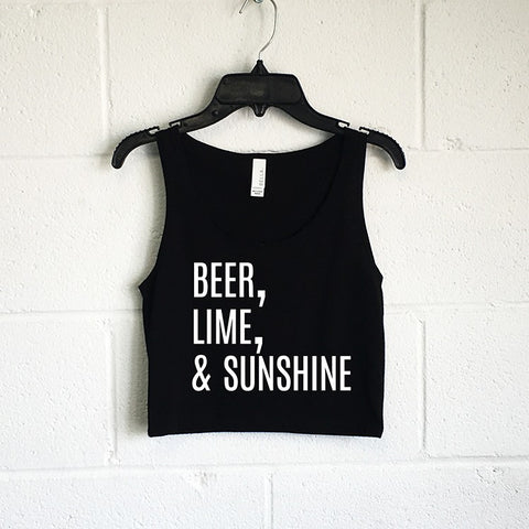 Beer, Lime, & Sunshine Crop Tank - SenseOfCustom