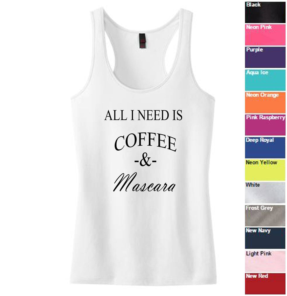 Coffee and Mascara Juniors Racerback Tank - SenseOfCustom - 1