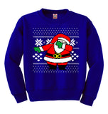 Dabbing Santa Claus Ugly Christmas Sweater Caucasian Santa | Youth Crewneck Sweatshirt