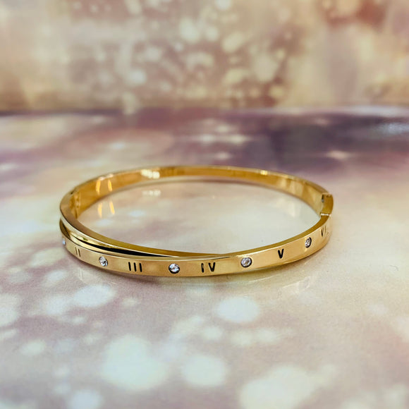 "7-Degrees Exclusives Stainless Steel Bangle ""Roman Numbers"""