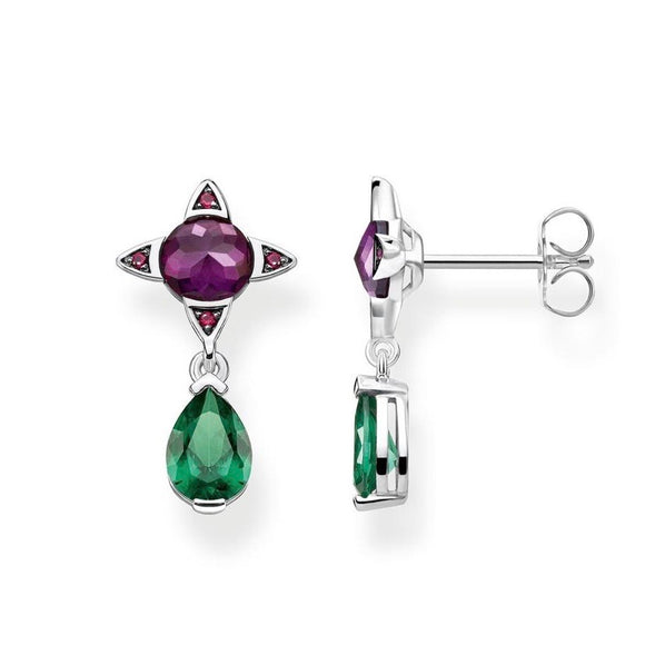 "Thomas Sabo Jewellery Earrings ""GREEN DROP WITH PURPLE STONE"" TH2073"