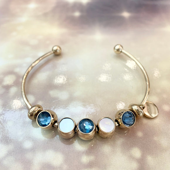 "7-Degrees Exclusives Stainless Steel Bangle ""Good Luck Aqua Beads"""