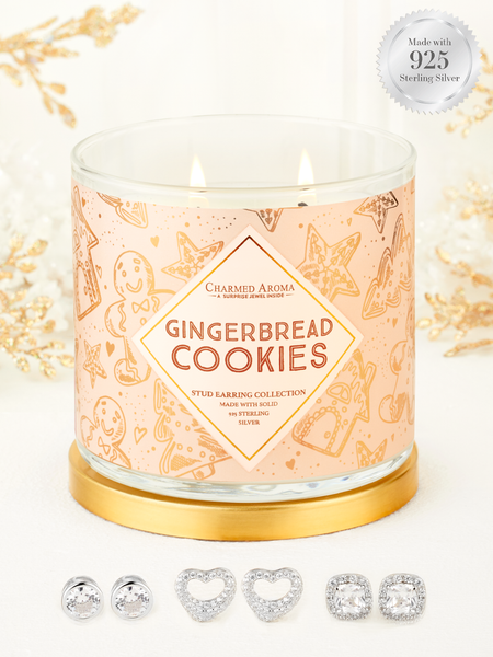 Gingerbread Cookies Candle - 925 Sterling Silver Stud Earring Collection