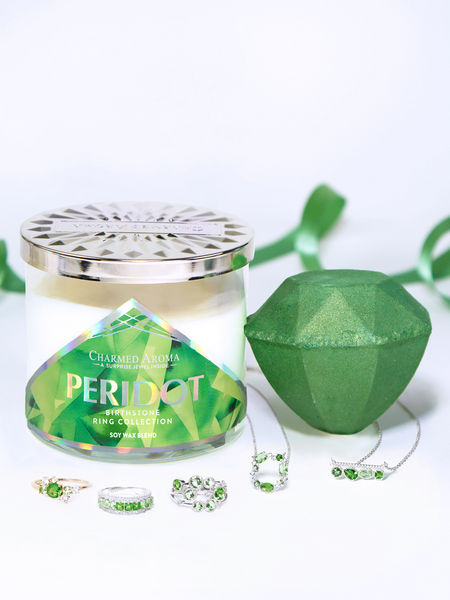Peridot Birthstone Set - Peridot Ring & Necklace Collection
