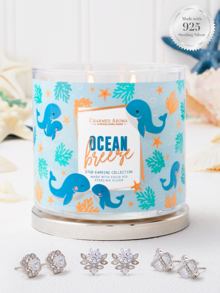Ocean Breeze Candle - 925 Sterling Silver Stud Earring Collection